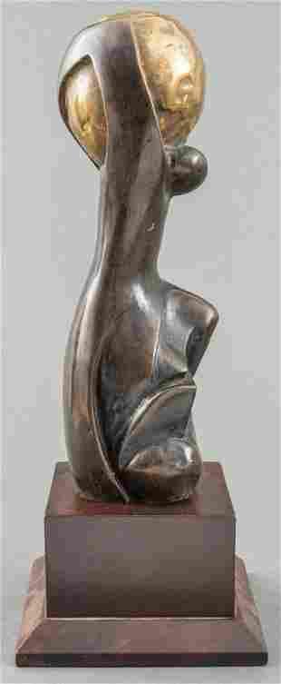 Modern Abstract Figural Bronze Sculpture of Atlas