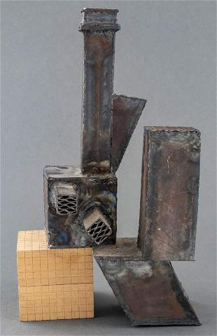 Brutalist Steel And Wood Sculpture