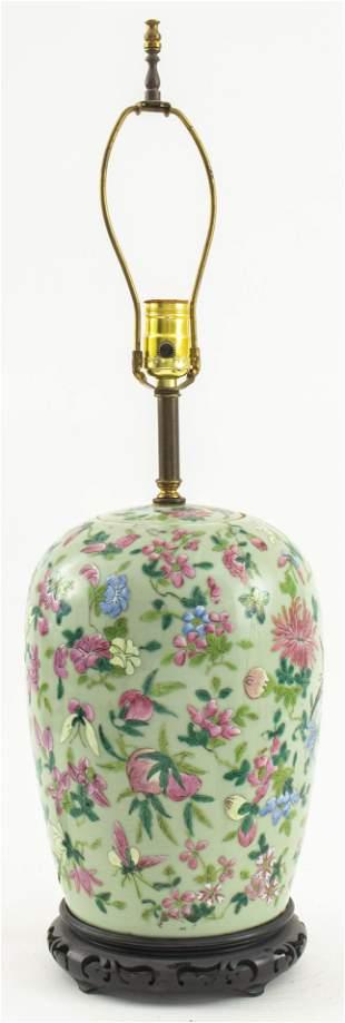 Chinese Chrysanthemum Celadon Lamp