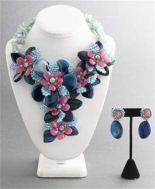Vilaiwan Floral Stone And Bead Necklace & Earrings