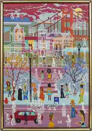 "James Thomas Folk Art ""A Spooky Day"" Oil on Canvas"