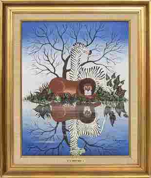 "Yannis Amoryanos ""Lion & Zebra"" Oil on Canvas"