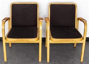 Mid-Century Blonde Bentwood Armchairs, Pair