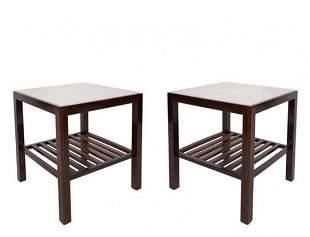 Brazilian Mid-Century Modern Marble Top Tables, Pr