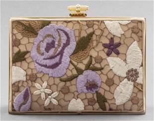Judith Leiber Embroidered Floral Clutch Handbag