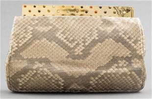 Judith Leiber Python-Print Clutch Handbag