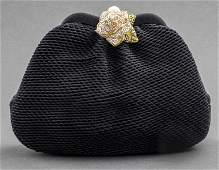 Judith Leiber Black Satin & Crystal Clutch Handbag
