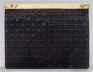 Oscar de la Renta Black Satin Clutch Handbag