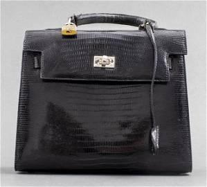 Black Lizard Skin 'Kelly' Handbag