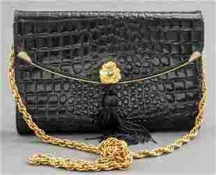 Black Crocodile-Print Clutch Handbag