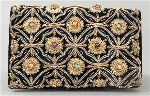 Embroidered Black Velvet And Satin Handbag