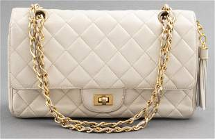 Beige Quilted Leather '2.55' Style Handbag