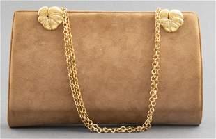 Brown Quilted Microfiber Handbag