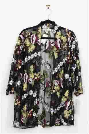 Caroline Rose Embroidered Sheer Blouse