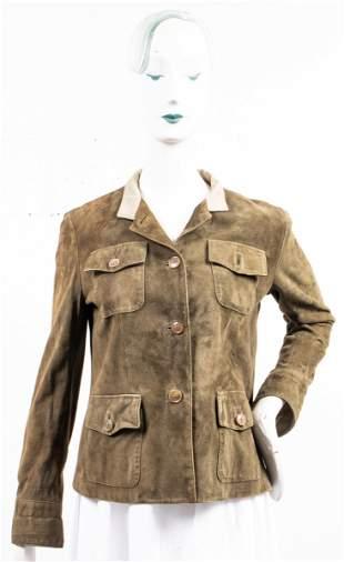 Luciano Barbera Green Suede Shirt Jacket