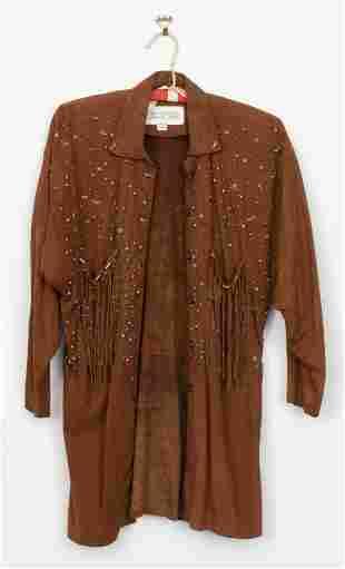 Jan Faulkner Embellished Brown Suede Blouse