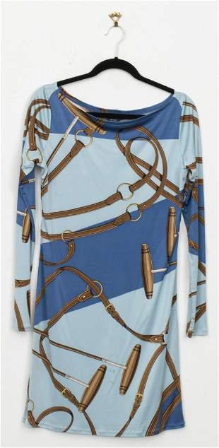 Ralph Lauren Blue Silk Equestrian Motif Dress