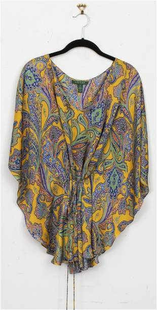 Ralph Lauren Yellow Paisley Silk Blouse