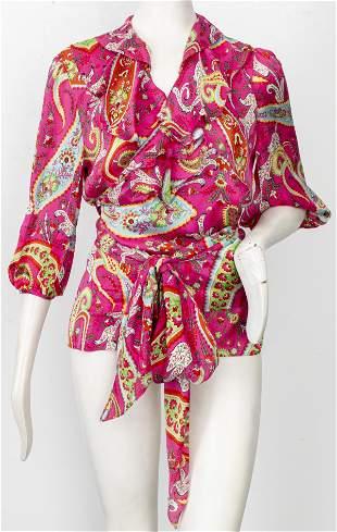 Ralph Lauren Pink Paisley Silk Blouse