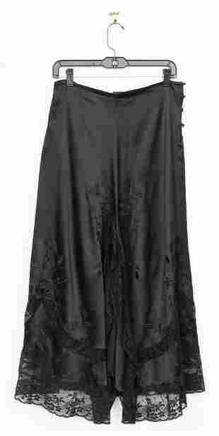 Ralph Lauren Black Embroidered Silk And Lace Skirt