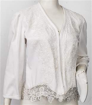 Ralph Lauren White Denim Blazer With Lace Detail