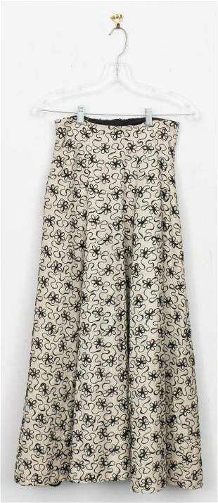 Vintage Floral Embroidered Skirt With Tulle Lining