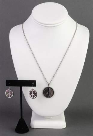 14K White Gold and MOP Peace Symbol Jewelry Set