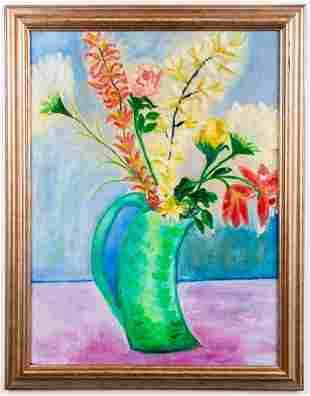 """Trudy Howard """"Flowers"""" Oil on Canvas, 1974"""