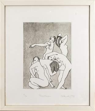 "Illegibly Signed ""Five Women"" Intaglio / Aquatint"