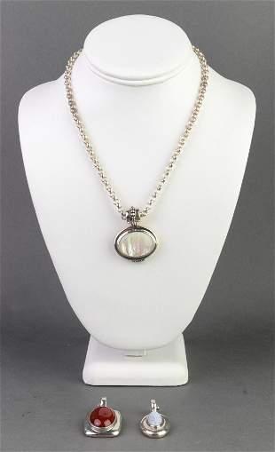 Silver Red Jasper Agate & MOP Pendant Necklace