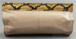 Tan Leather And Python-Print Clutch Handbag