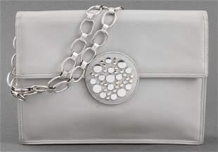 Grey Leather Clutch Handbag