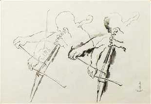 "Georges Schreiber ""Cellist Study"" Watercolor"