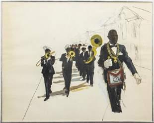 "Michael Paraskevas ""Parade"" Acrylic on Paper"