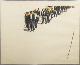 """Michael Paraskevas """"Marching Band"""" Acrylic on Paper"""