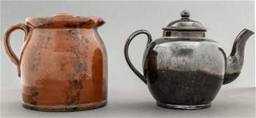 Brown Stoneware Pitcher and Black Teapot, 2 PCS.