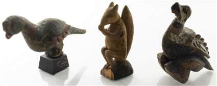 Folk Art Carved Wood Animal Figures, Group of 3