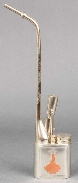 Chinese Paktong Engraved Water Pipe W Copper