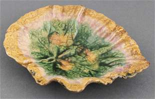 Etruscan Majolica Pottery Leaf Plate