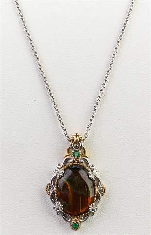 Silver, Vermeil, Emerald & Topaz Pendant Necklace