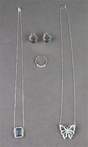 Diamond Pendant Necklaces, Earrings and Ring, 4