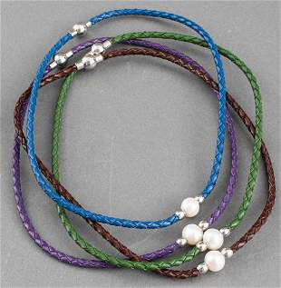 Contemporary Single Oval Pearl Leather Chokers