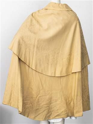 Tan Embroidered Opera Cape / Cloak