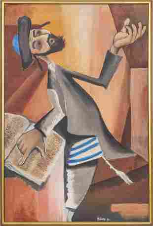 """Ari Gradus """"Rabbi"""" Judaica Oil on Canvas"""