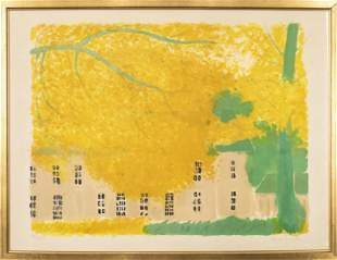 """Andre Brasilier """"Yellow Tree"""" Lithograph on Paper"""