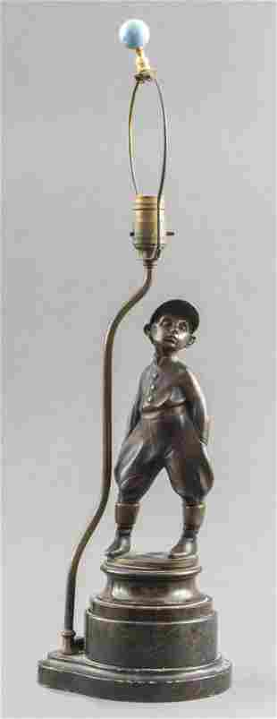 Bronze Sculptural Lamp on Polished Stone Base
