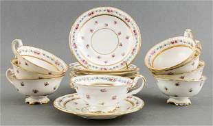 English Cauldon Porcelain Teacups & Saucers, 17