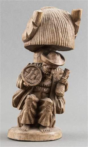 Folk Art Carved Wood Sculpture Of A Man