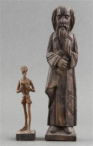 Carved Wood Santo Saint & Ouro Spanish Wood Figure