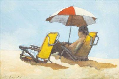 "Michael Paraskevas ""Beach Read"" Oil on Canvas"